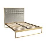 Federico Double Bed, Mushroom Velvet, Brass Base