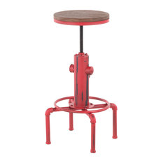 Lumisource Hydra Barstool Red Metal And Brown Wood