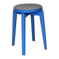 Handmade Solid Wood Retro Stool, Blue Lacquer