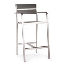 Zuo Megapolis Vive Bar Arm Chair Brushed Aluminum