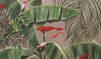 Peces rojos entre banana leaves / Valeria Pesce / pintora artística / 100x81cm