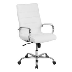 7f0b90c6cda High Back Leather Executive Swivel Office Chair With Chrome Arms