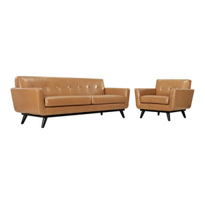 Magnificent Luke Leather Ava 2 Piece Sofa Set In Bomber Tan Ava Sl Cjindustries Chair Design For Home Cjindustriesco