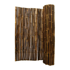 """Natural Black Rolled Bamboo Fence 1"""" D X 6' H X 8' L"""