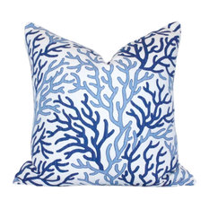 """Coral Cotton Pillow Cover, Lumbar, Indigo Blue, 20""""x20"""""""