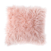 MHF Home Estelle Pink Faux Fur 18-inch Throw Pillow Cover