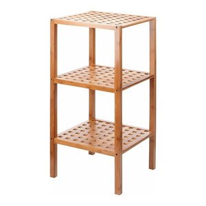 Traditional Bamboo Storage Stand, Wood With Three Open Shelves