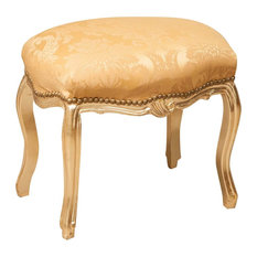 Louis XVI French Long Footstool, Yellow Damask