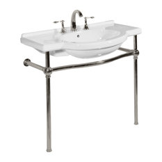 Nouveau Console Lavatory and Stand, White/Satin Nickel