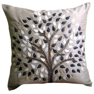 Gray Pearls & Beaded Tree 55x55 Silk Cushions Covers for Couch, Gray Hope Tree