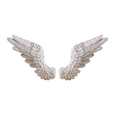 Antique Angel Wings Wall Decor, 2-Piece Set, White