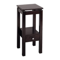Pemberly Row Linea Brown Wood End Table With Chrome Accents In Dark Espresso