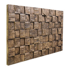 Wooden High-Low Wall Panel, Mocha