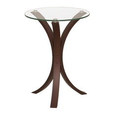 Good Coaster Fine Furniture   Small Accent Side Snack Table With Round Glass Top,  Cappuccino Wood