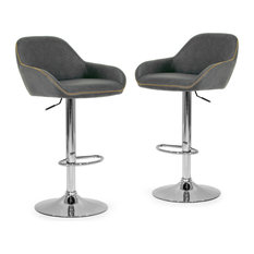 Glamour Home - Alan Adjustable Height Swivel Bar Stools, Vintage Gray Faux Leather, Set of 2 - Bar Stools and Counter Stools