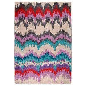 Wool Design Stripes Rug, Multi, 140x200 cm
