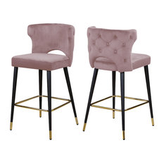 Kelly Velvet Stool, Set of 2, Pink