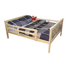 Unfinished Full Size Pine Bed With Safety Rails
