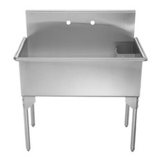 "Pearlhaus Large, Single Bowl Commerical Freestanding Utility Sink, 39.13""X34.63"""