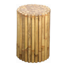 Bamboo54   Rustic Round Bamboo End Table, Stool   Side Tables And End Tables