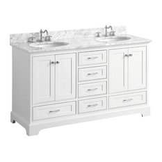 "Harper 60"" Sink Bathroom Vanity, Top: Carrara, Double, White, 60"""