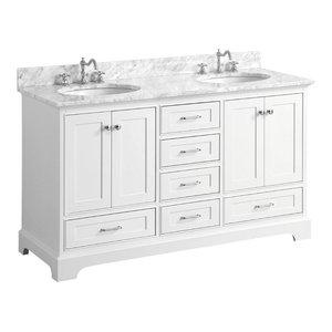 "Harper 60"" Vanity, White, 60"", Top: Carrara, Double"