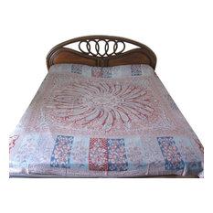 Mogul Interior - Jamawar Pashmina Bedspreads Paisley Medallion Blanket Throw Indian Bedding - Blankets