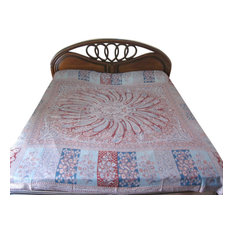 Mogul Interior - Jamawar Pashmina Bedspreads Paisley Medallion Blanket Throw Indian Bedding - Throws