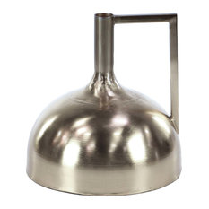 Modern Long-Necked Dome-Shaped Iron Vase, Silver