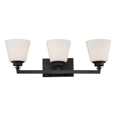 Mobili 3 Light Vanity Fixture With Satin White Glass