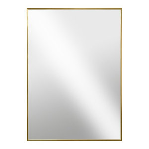 Modern Hanging Framed Wall Mounted Metal Mirror, Gold Glossed Aluminum, 26x38