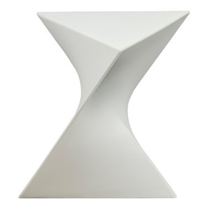 Leisuremod Randolph Modern Accent Side End Table Indoor Outdoor Use, White