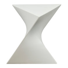 Leisuremod Randolph Modern Triangle Accent Side End Table, White