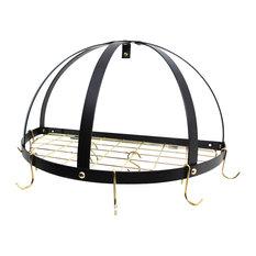 Half Dome Pot Rack With Grid, Black/Brass