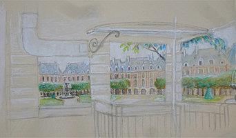 """Panoramique : """"La Place des Vosges"""". maquette."""