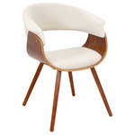 LumiSource - Vintage Mod Accent Chair, Walnut/Cream - Whether it's in a set or on its own, the curved walnut seat of the Vintage Mod chair is sure to make a statement. With slim walnut legs and a truly unique shape designed for maximum comfort, this chair is the perfect fit for any setting.