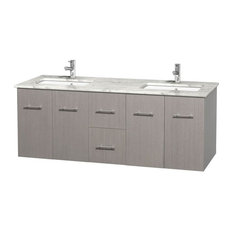 Double Bathroom Vanity With Sinks, Gray Oak White Carrera Marble Countertop, 60""