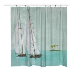Tropical Sailboats Shower Curtain