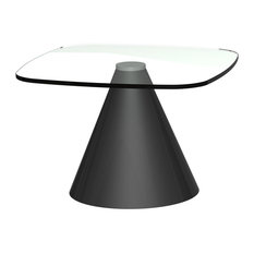 Oscar Small Square Side Table, Clear Glass, Black Base