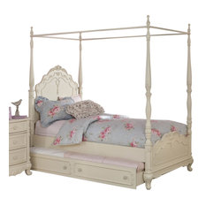 HomeleganceLA, Inc   Homelegance Cinderella Canopy Poster Bed In Antique  White, Full Without Trundle
