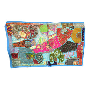 Mogul Interior - Consigned Blue Bohemian Wall Hanging Embriodrerd Sari Patch Tapestry - Tapestries