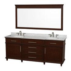 """Berkeley 80"""" Double Bathroom Vanity, Dark Chestnut, Countertop and 70"""" Mirror, D"""