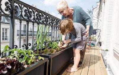 Antes y después: Un huerto para una familia en un balcón de París