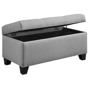 Tremendous Grey And White Chevron Stripe Padded Storage Ottoman Bench Caraccident5 Cool Chair Designs And Ideas Caraccident5Info