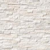 """Arctic White Marble Splitface Ledger Panels, 6""""x18""""x6"""" Corner, 10 Pieces"""