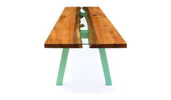 Table- Elm Wood Live Edge and Glass