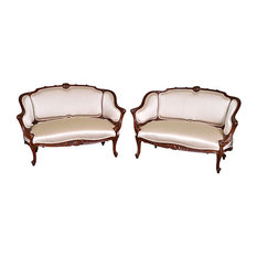 Consigned  French Walnut Settees, C. 1870, Set of 2