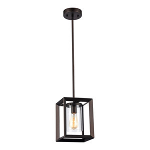 """IRONCLAD, Industrial-style 1 Light Rubbed Bronze Ceiling Mini Pendant, 7"""" Shade"""