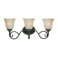 Three Light Mocha Bronze Etched; Painted Glass Vanity