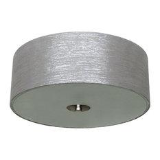 Modena 2-Light Flush Mount, Satin Steel, Starlight Weave Fabric